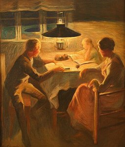 """A beautiful painting of a different generations reading by Finnish artist Carl Bengts. I think the title of the painting would translate to """"Under the Reading Lamp""""."""